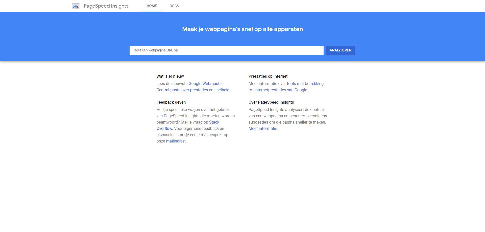 laadsnelheid website